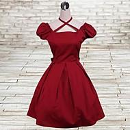Short Sleeve Knee-length Red Cotton Classic Lolita Dress