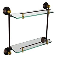 Contemporary Oil Rubbed Bronze Finish Glass Shelf With Rail