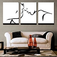 Stretched Canvas Print Art People Contours of The Face Set of 3