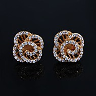 Wedding Brass  Gold Plated with 4A Zircon Girls' Earrings (More Color)