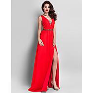 Prom / Formal Evening / Military Ball Dress - Plus Size / Petite Sheath/Column V-neck Floor-length Chiffon