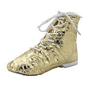 ジャズ·キッド/女性ゴールドスポット·スプリットソールパテントレザーダンスブーツ(もっと色)