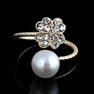 agradable de metal patrón de trébol coreano de oro anillo ajustable del diamante artificial apertura blanco perla (1 unidad)