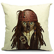 Cool Cat Cotton/Linen Decorative Pillow Cover