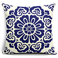 Floral Blooming Cotton/Linen Decorative Pillow Cover