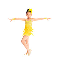 Latin Dance Outfits Children's Training Spandex / Sequined Sequins / Tassel(s) Sleeveless Natural