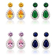 Brass Vermeil Plated With Cubic Zirconia Tear-Shaped Drop Earrings(More Colors)