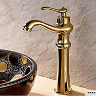 Traditional Centerset Rotatable with  Ceramic Valve Single Handle One Hole for  Ti-PVD , Bathroom Sink Faucet