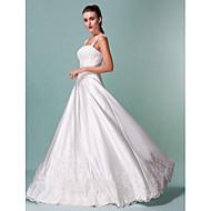Lanting Bride® A-Linie Extraklein / Übergrößen Hochzeitskleid - Klassisch & Zeitlos Vintage Inspirationen Boden-Länge Quadratisch Satin