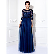 Formal Evening/Prom/Military Ball Dress - Dark Navy Plus Sizes A-line Jewel Floor-length Tulle