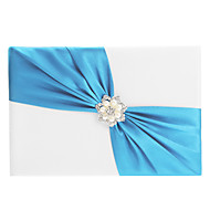 Elegant Wedding Guest Book And Pen Set With Blue Sash & Pearls Sign In Book
