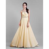 TS Couture Formal Evening / Prom / Military Ball Dress - Champagne Plus Sizes / Petite Sheath/Column Jewel Court Train Chiffon