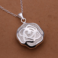Sweet Rose Pendant Silver Plated Simple Flower Silver Pendant Necklace(White)(1Pc)
