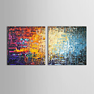 iarts®oil pinturas conjunto de 2 modernas tijolos da cor abstrata pintados à mão lona pronta para pendurar