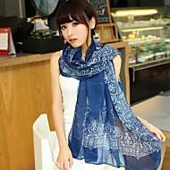 여성의 복고풍 파란색과 흰색 도자기 아가씨 스카프 쉬폰 스카프 (모듬 된 색상)