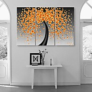 Stretched Canvas Art Happiness Flowers Blooms Abstract Painting  Set of 3