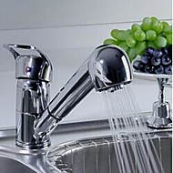 Contemporary Chrome Solid Brass Pull Out Kitchen Faucet