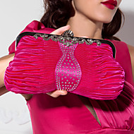 Amazing Silk Metal With Rhinestone Clutches/Evening Handbags(More Colors)