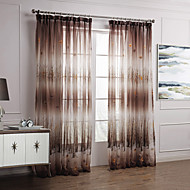 Two Panels  Elegant Country Autumn Maple Leaves Sheer Curtains Drapes