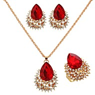 Women's Gold/Cubic Zirconia/Vermeil Jewelry Set Ruby