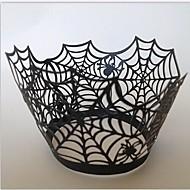 Halloween pavučina cupcake wrapper, řezání laserem, party laskavost dekorace 60ks