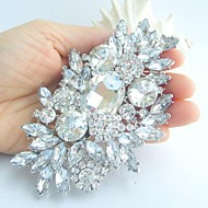 Women's Vintage Alloy With Clear Rhinestone Crystal Flower Bridal Brooch Bouquet Wedding Jewelry