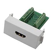 n86-600k kvinnelige hdmi v1.4 adapter gratis sveising modulsokkelen panel støttemur 3d - hvit + grønn