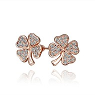 Fashion Four-Leaved CloverRose Gold Rose Gold-Plated Stud Earrings(Rose-Gold)(1Pair)