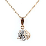 Women's Drop Leaf-Shaped Alloy Inlay Crystal Zircon Necklace Gold(1Pc)