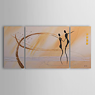 Hand-Painted Abstract / People Three Panels Canvas Oil Painting For Home Decoration