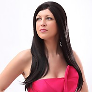 Lace Front Straight  Black Synthetic Wigs with None Bang