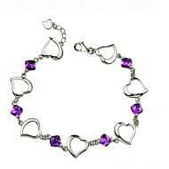 Women's Silver Chain With Purple Crystal Bracelet