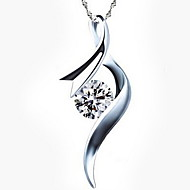 Women's Silver Crystal Dangling Necklace With Rhinestone