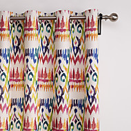 Philips Young - (Two Panels) Contemporary Abstract Gypsy Bohemian Style Multi Color Floral Curtain