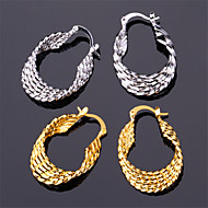 U7®Vintage Women's 18K Real Gold Platinum Plated Earrings Basketball Wives Hoop Earrings for Women