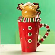 jul rådyr form krus med låg til gave, male keramik, tilfældig hjorte tørklæde farve