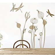 Wall Stickers Wall Decals, Flower Dragonfly Home Decor PVC Vinyl Art Wall Stickers