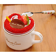 Weihnachtsgeschenk roten und Kaffee-Kuchen Form Handtuch (100% Baumwolle, 20 * 20cm * 2 Stück)
