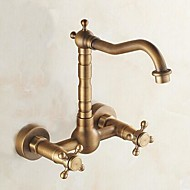 Traditional Bar/­Prep Wall Mounted Widespread with  Ceramic Valve Two Handles Two Holes for  Antique Brass , Kitchen faucet
