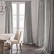 Room Darkening Natural Linen Light Gray Curtain(Two Panels)