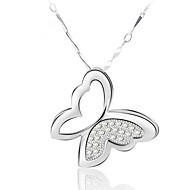Women's Silver Butterfly Transprent Crystal Necklace