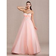 프롬/저녁 정장파티/성인식/스위트 16 드레스 - 펄 핑크 볼 가운/A라인/프린세스 바닥 길이 스위트하트 명주그물 플러스 사이즈