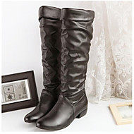 Women's Shoes Leatherette Spring / Fall / Winter Fashion Boots Office & Career Chunky Heel Black / Brown / White