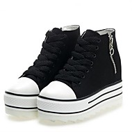 Women's Spring / Fall / Winter Round Toe / Comfort Canvas Casual Wedge Heel Zipper / Lace-up Black / White