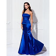 Formal Evening / Military Ball Dress - Plus Size / Petite Trumpet/Mermaid Strapless Floor-length Lace / Stretch Satin