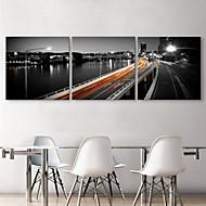 Sträckt Canvastryck konst Landskap Viaduct Set av 3