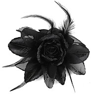 Black Rose-Shaped Feather Brooch/Hairpins Black (1Pc)
