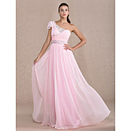 TS Couture® Formal Evening / Prom / Military Ball Dress - Candy Pink Plus Sizes / Petite Sheath/Column One Shoulder Floor-length Chiffon