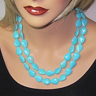 Women's Double Turquoise Necklace Earrings Jewelry Set