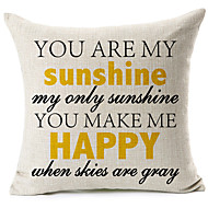 """You Are My Sunshine"" Cotton/Linen Decorative Pillow Cover"